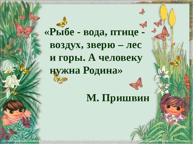 «Рыбе - вода, птице - воздух, зверю – лес и горы. А человеку нужна Родина» М....