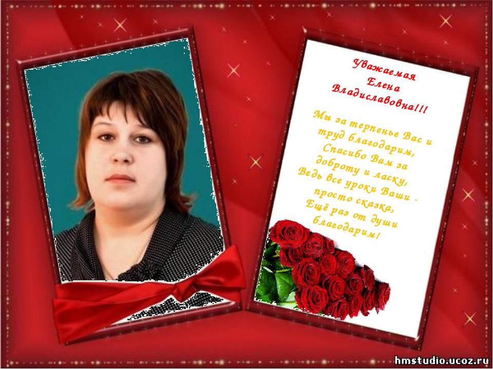 Уважаемая Елена Владиславовна!!! Мы за терпенье Вас и труд благодарим, Спасиб...