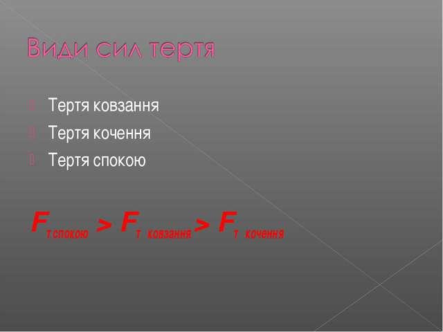 Тертя ковзання Тертя кочення Тертя спокою Fт спокою > Fт ковзання > Fт кочення