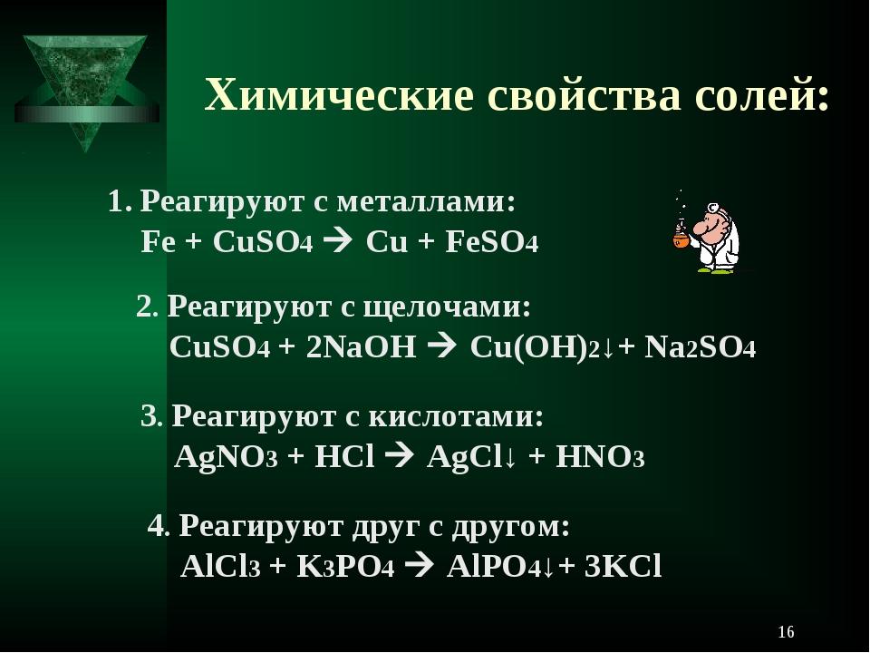 Химические свойства солей: Реагируют с металлами: Fe + CuSO4  Cu + FeSO4 2....