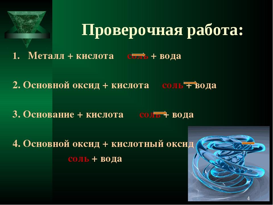 Проверочная работа: Металл + кислота соль + вода 2. Основной оксид + кислота...