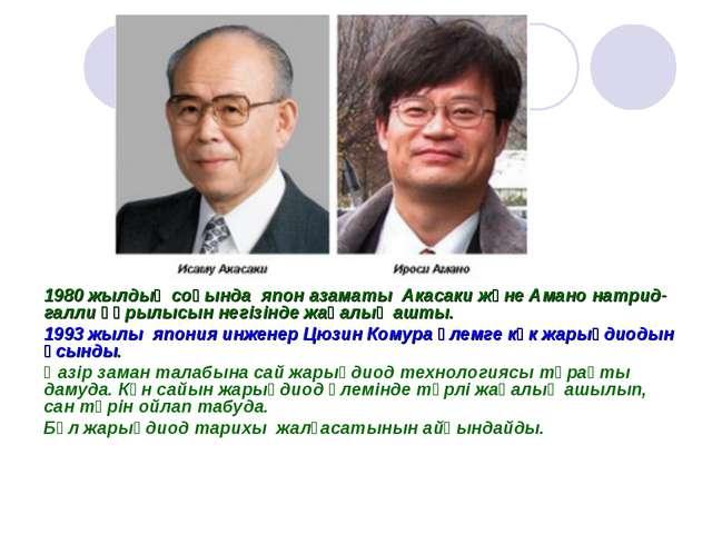1980 жылдың соңында япон азаматы Акасаки және Амано натрид-галли құрылысын не...