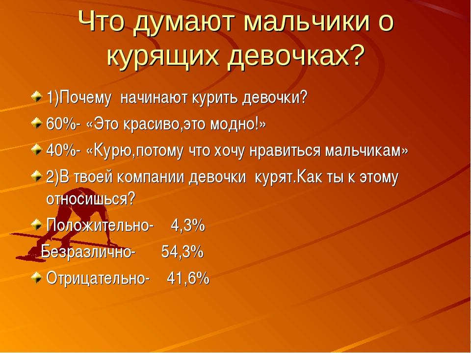 Что думают мальчики о курящих девочках? 1)Почему начинают курить девочки? 60%...