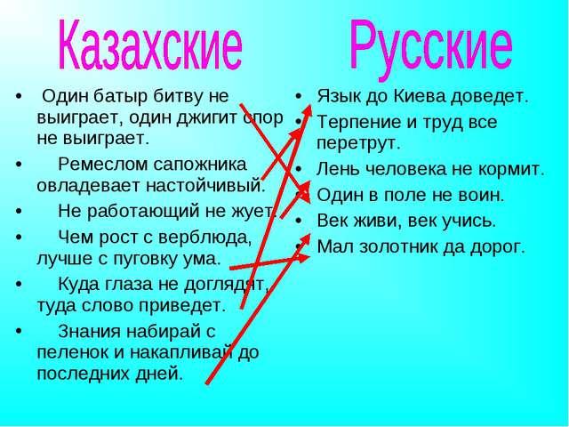 Язык до Киева доведет. Терпение и труд все перетрут. Лень человека не кормит....