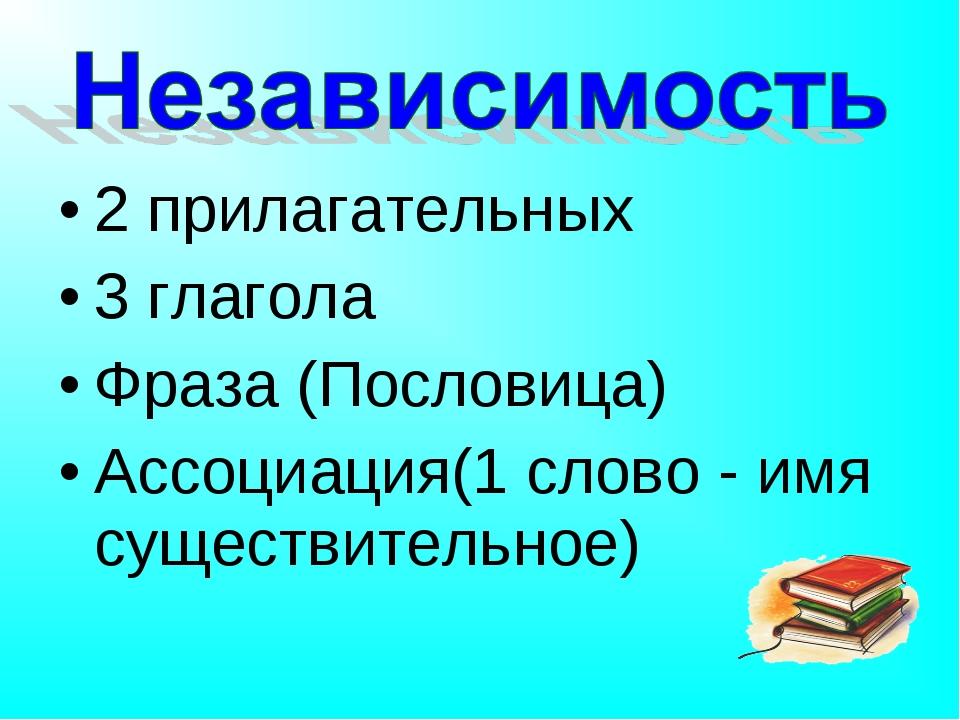 2 прилагательных 3 глагола Фраза (Пословица) Ассоциация(1 слово - имя существ...