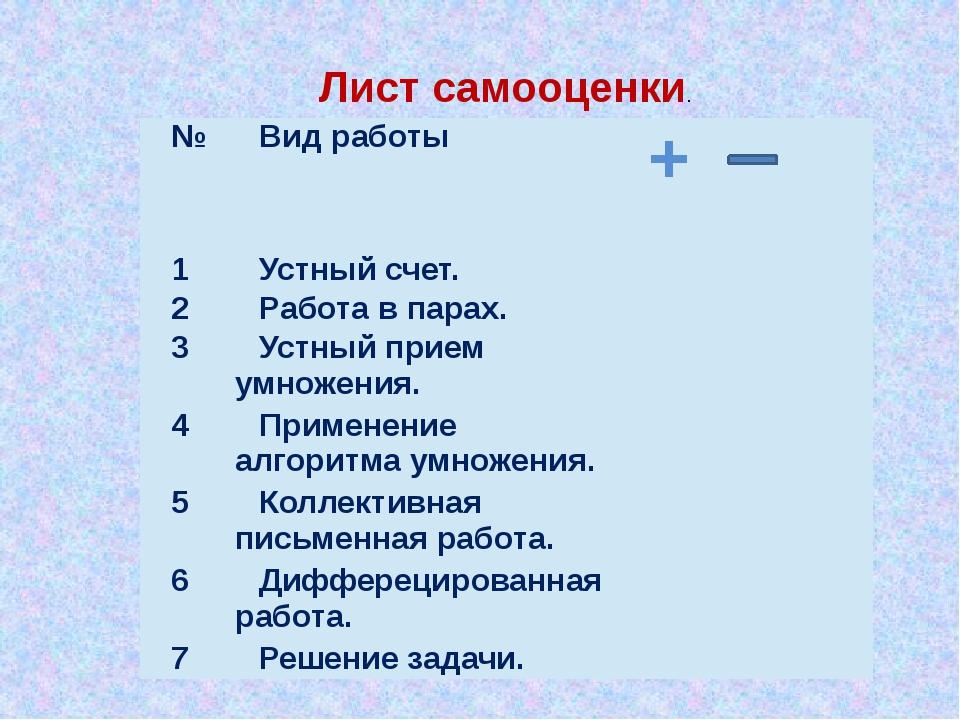 Лист самооценки. № Вид работы +  1 Устный счет.  2 Работа в парах.  3 Уст...