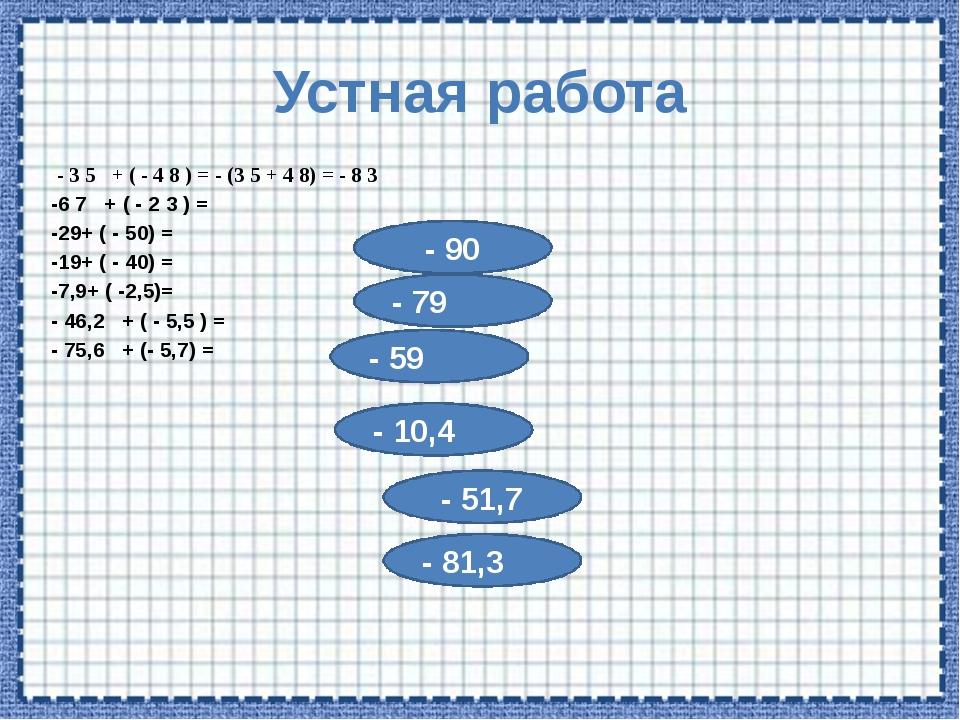 Устная работа - 3 5 + ( - 4 8 ) = - (3 5 + 4 8) = - 8 3 -6 7 + ( - 2 3 ) = -2...