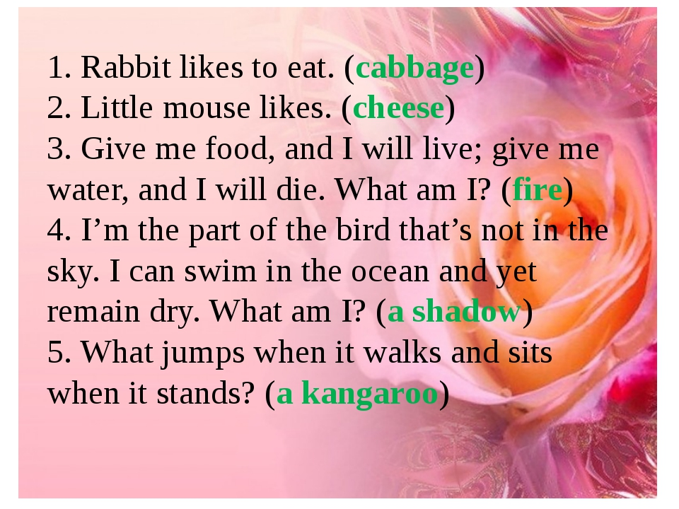 1. Rabbit likes to eat. (cabbage) 2. Little mouse likes. (cheese) 3. Give me...