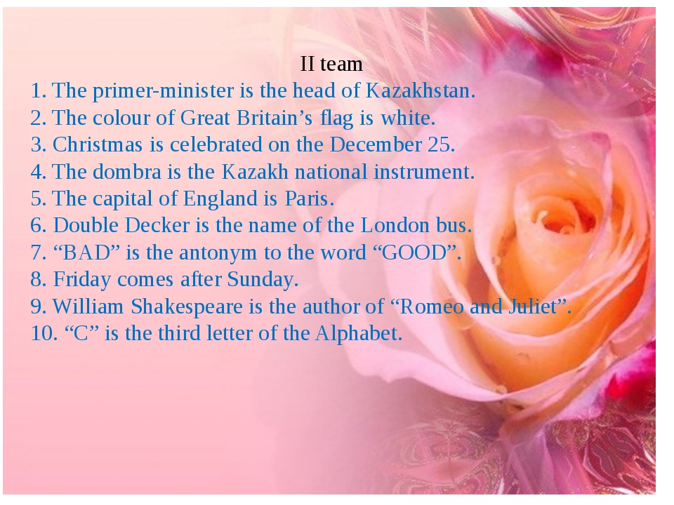 II team 1. The primer-minister is the head of Kazakhstan. 2. The colour of G...