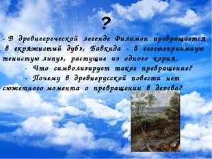 ? - В древнегреческой легенде Филимон превращается в «кряжистый дуб», Бавкид