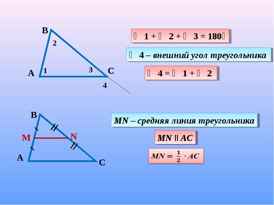∠ 1 + ∠ 2 + ∠ 3 = 180ᵒ ∠ 4 – внешний угол треугольника ∠ 4 = ∠ 1 + ∠ 2