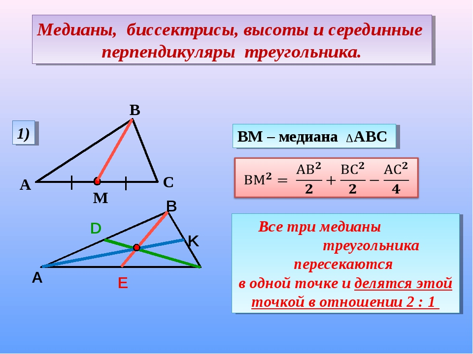 Медианы, биссектрисы, высоты и серединные перпендикуляры треугольника.