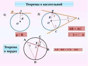 Теоремы о касательной 1) p ⏊ R AB = AC ∠ 3 = ∠ 4 Теорема о хордах R р А О 2)