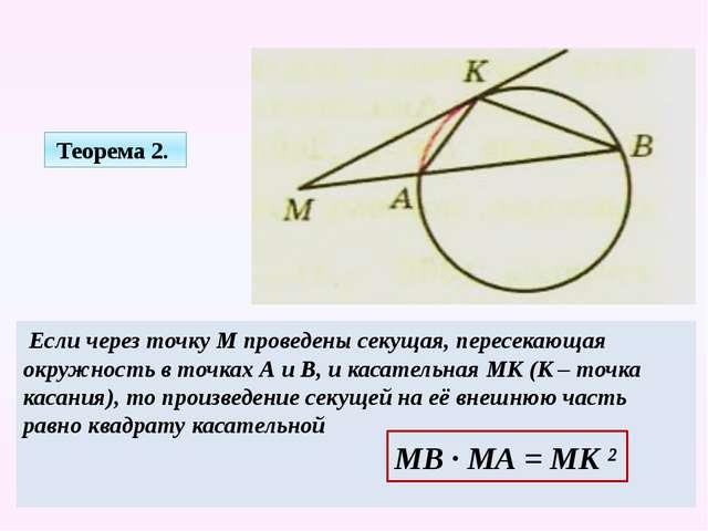 Если через точку М проведены секущая, пересекающая окружность в точках А и В...