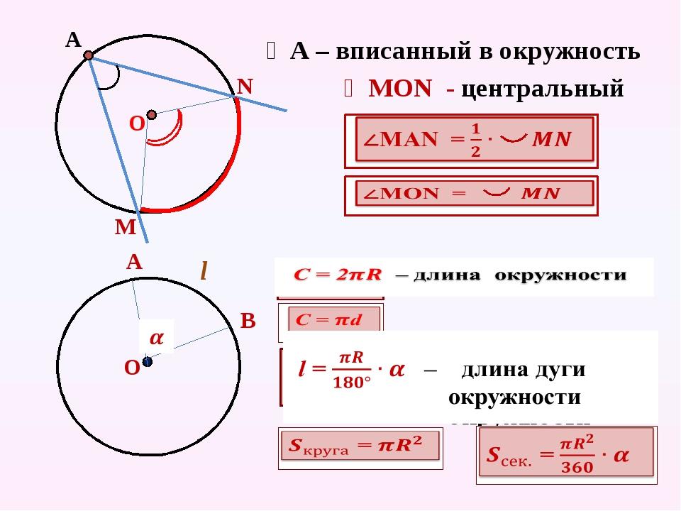 А ∠А – вписанный в окружность М N ∠МОN - центральный О А В О l