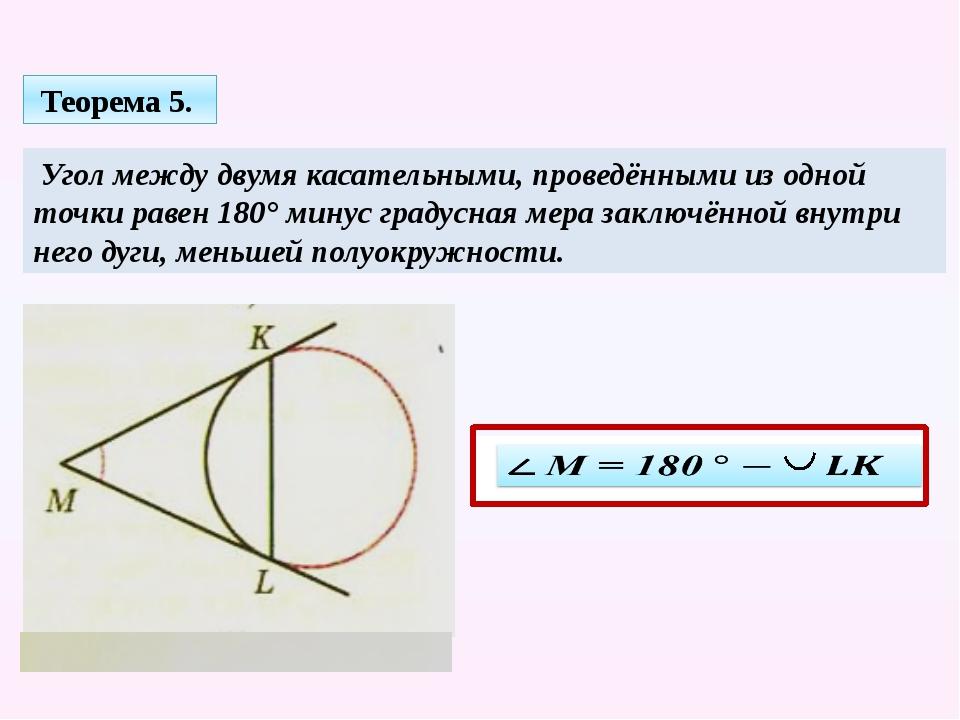 Угол между двумя касательными, проведёнными из одной точки равен 180° минус...