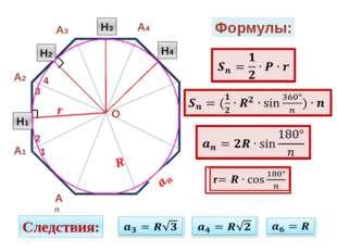 Формулы: Следствия: А2 А1 А3 А4 Аn 1 2 3 4 О Н1 Н2 Н3 Н4 R r