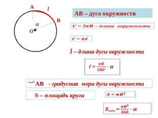 А В АВ – дуга окружности О l l – длина дуги окружности АВ - градусная мера д