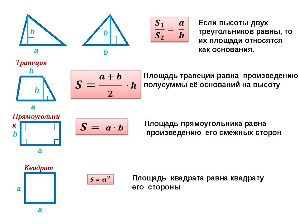 a Трапеция Если высоты двух треугольников равны, то их площади относятся как...