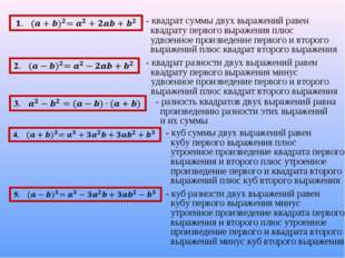 - квадрат суммы двух выражений равен квадрату первого выражения плюс удвоенно
