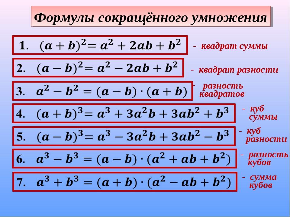 Формулы сокращённого умножения - квадрат суммы - квадрат разности разность кв...