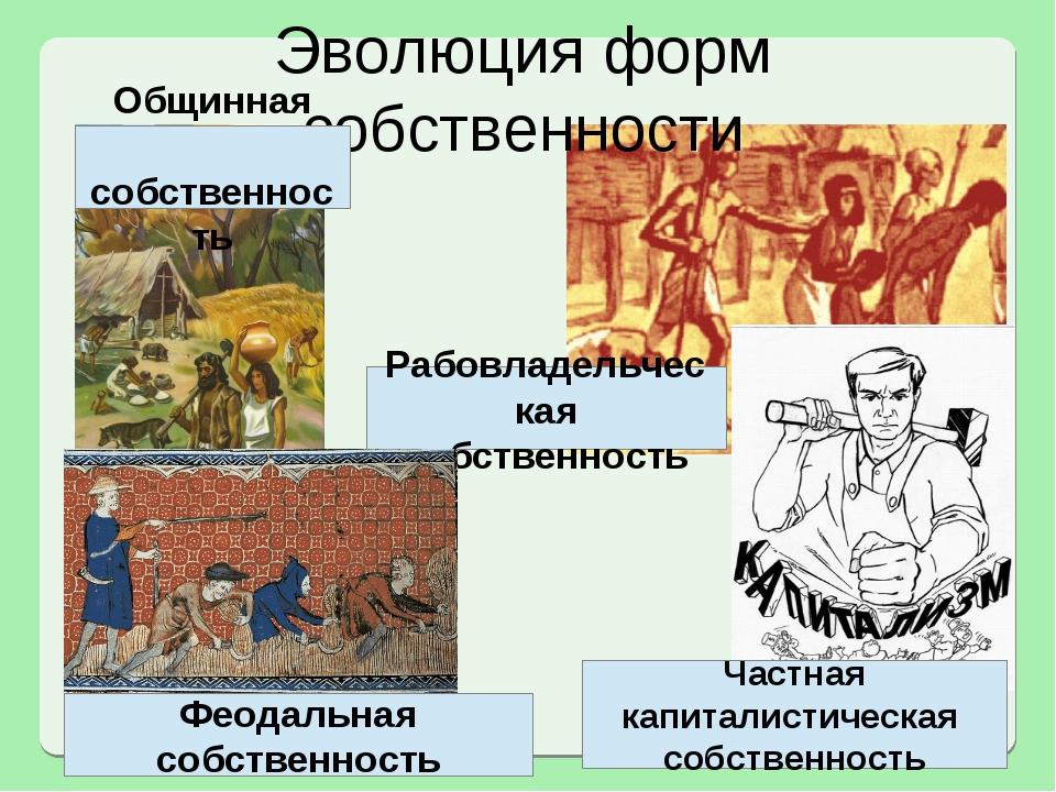 Рабовладельческая собственность Эволюция форм собственности Феодальная собств...