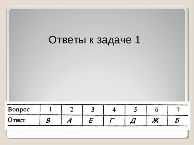 Ответы к задаче 1