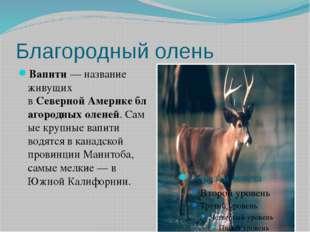 Благородный олень Вапити — название живущих вСевернойАмерикеблагородныхол
