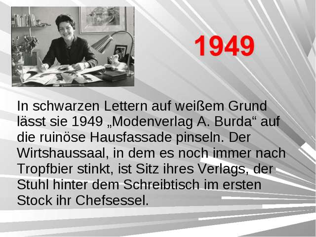 """In schwarzen Lettern auf weißem Grund lässt sie 1949 """"Modenverlag A. Burda"""" a..."""