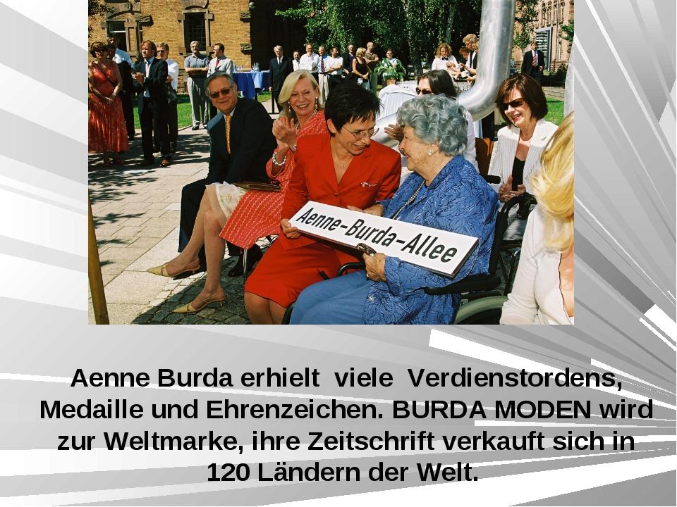 Aenne Burda erhielt viele Verdienstordens, Medaille und Ehrenzeichen. BURDA M...