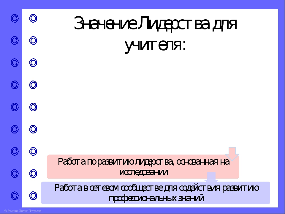 Значение Лидерства для учителя: © Фокина Лидия Петровна