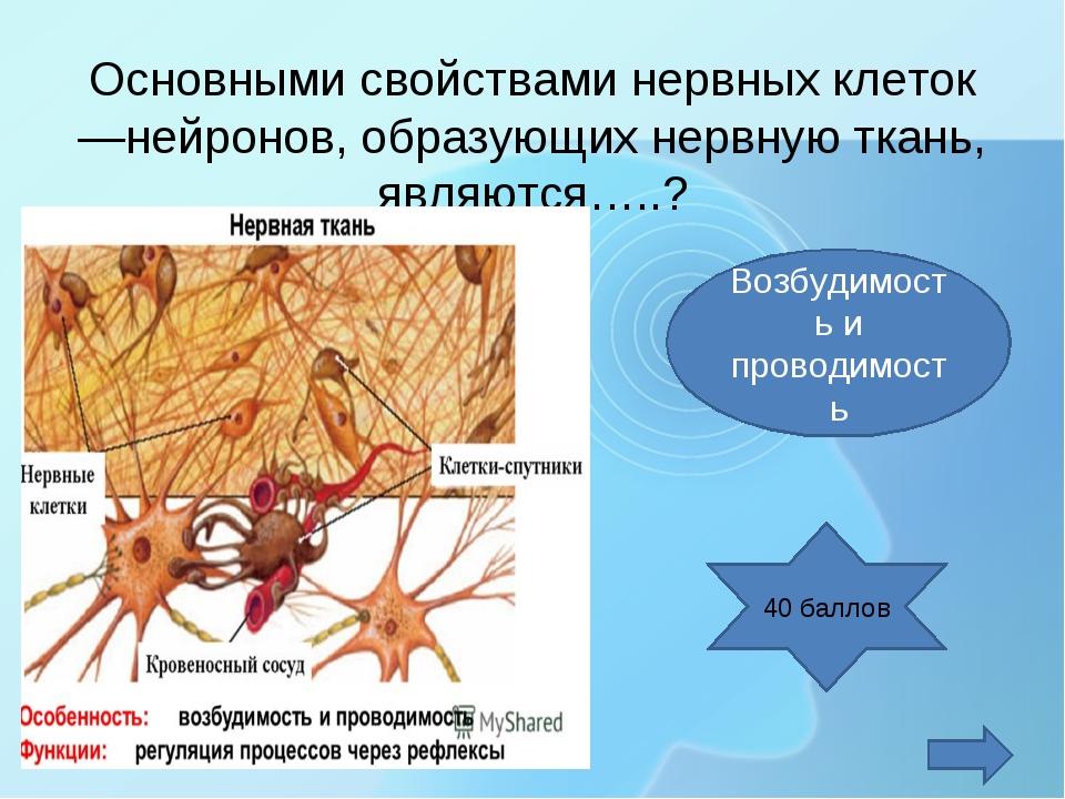 Основными свойствами нервных клеток —нейронов, образующих нервную ткань, явл...