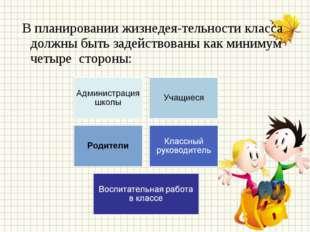 В планировании жизнедеятельности класса должны быть задействованы как миним