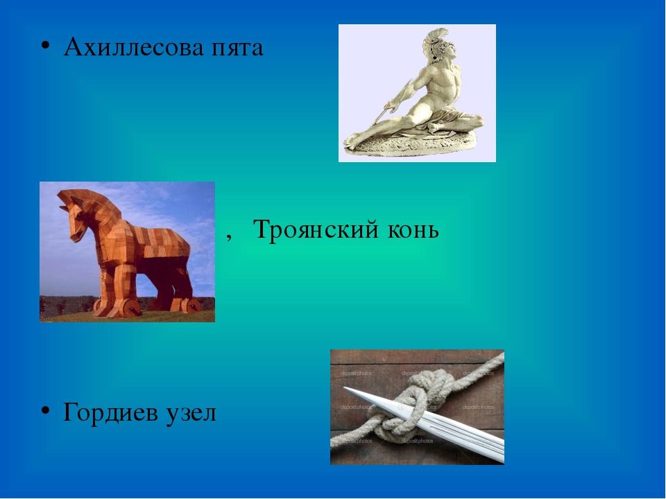 Ахиллесова пята , Троянский конь Гордиев узел
