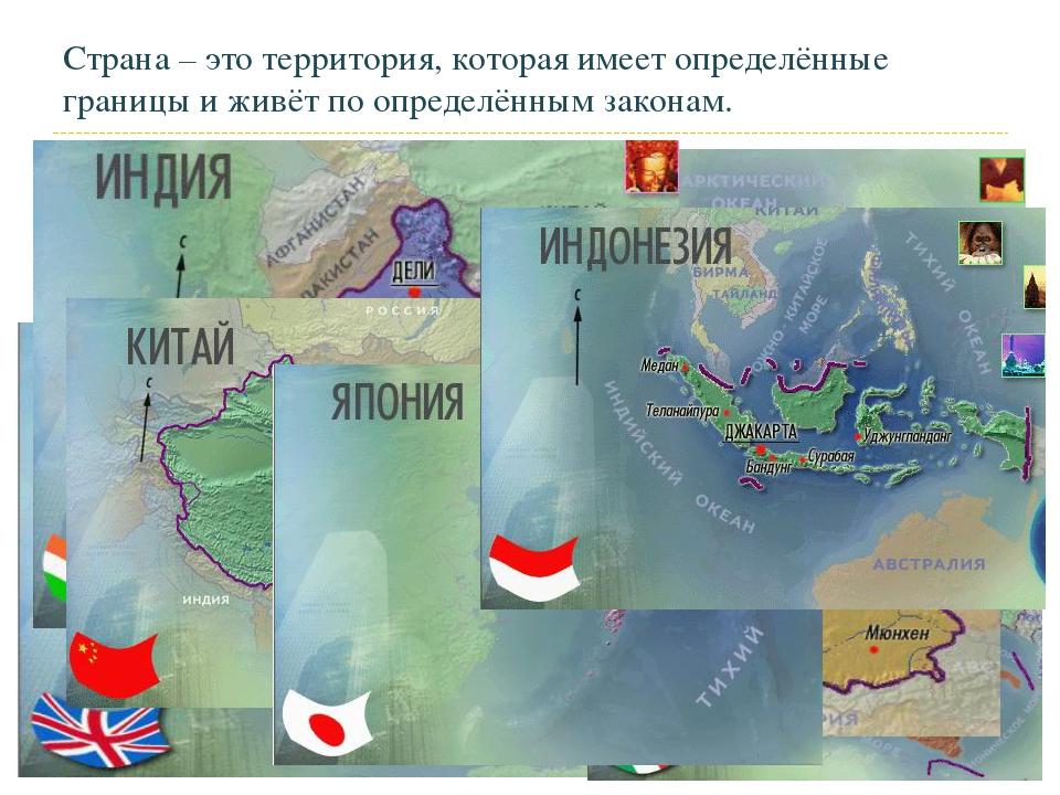 Страна – это территория, которая имеет определённые границы и живёт по опреде...