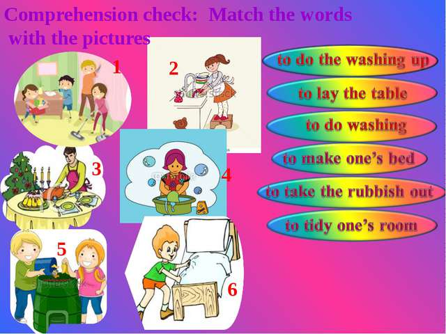 Comprehension check: Match the words with the pictures 1 2 3 4 5 6