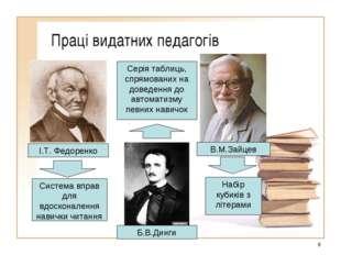 Праці видатних педагогів * І.Т. Федоренко Б.В.Динги В.М.Зайцев Система вправ