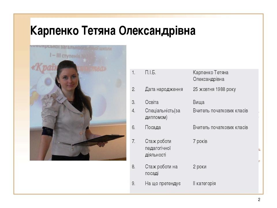 * Карпенко Тетяна Олександрівна 1.П.І.Б.Карпенко Тетяна Олександрівна 2.Да...