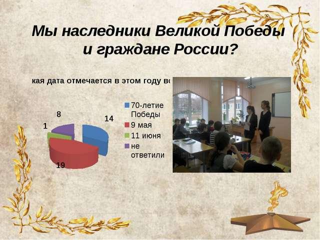 Мы наследники Великой Победы и граждане России?