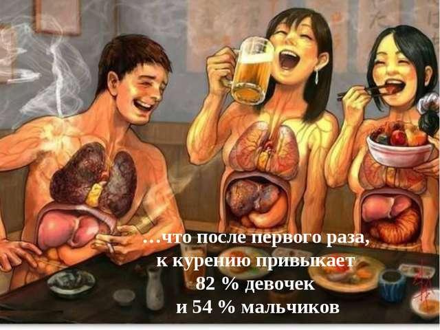 …что после первого раза, к курению привыкает 82 % девочек и 54 % мальчиков