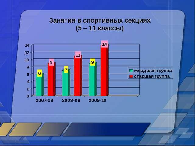 Занятия в спортивных секциях (5 – 11 классы)