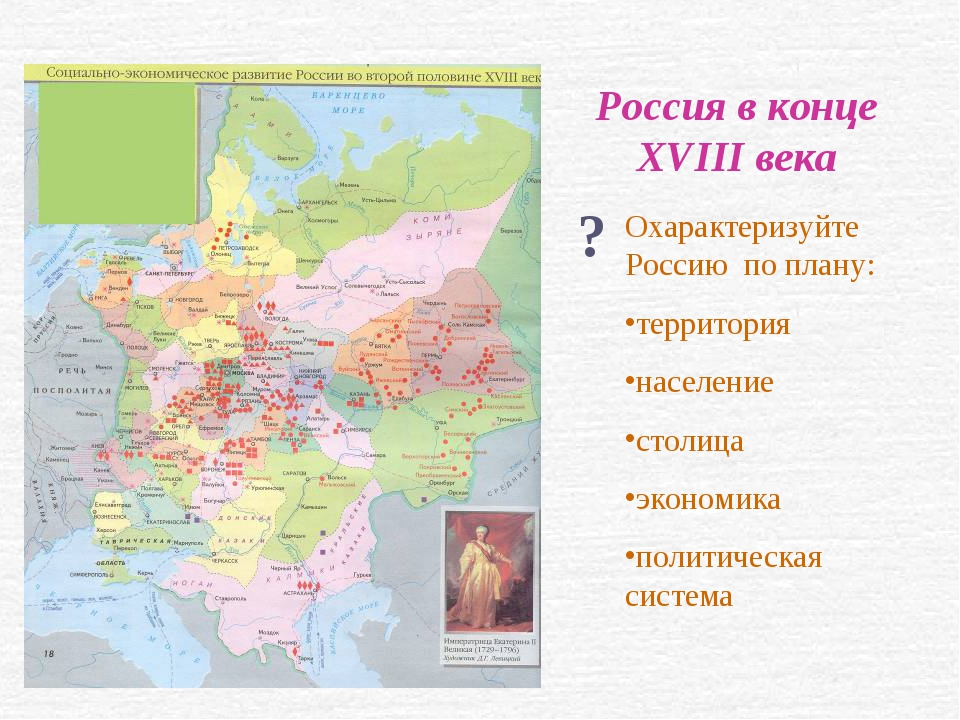 Россия в конце XVIII века ? Охарактеризуйте Россию по плану: территория насел...