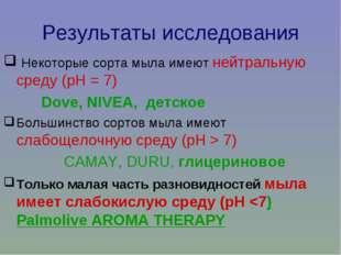 Результаты исследования Некоторые сорта мыла имеют нейтральную среду (рН = 7)