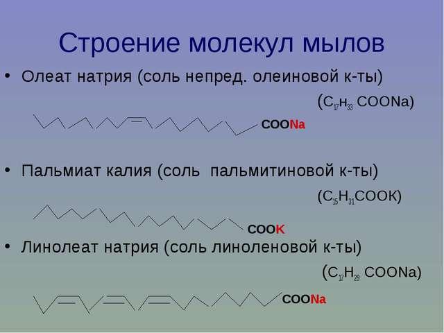 Строение молекул мылов Олеат натрия (соль непред. олеиновой к-ты) (С17н33 СОО...