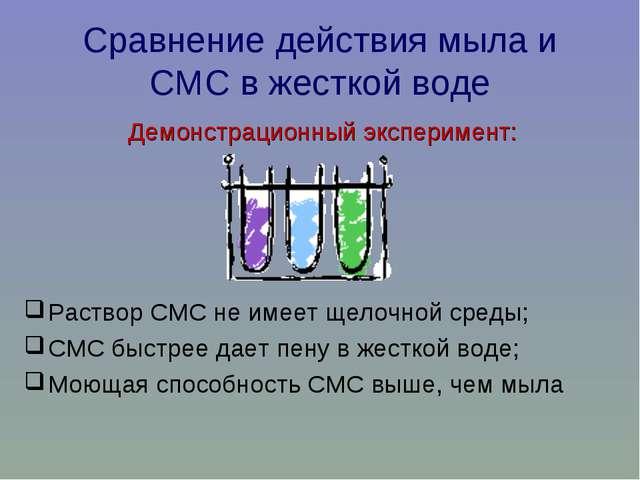 Сравнение действия мыла и СМС в жесткой воде Демонстрационный эксперимент: Ра...