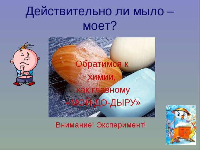 Действительно ли мыло – моет? Обратимся к химии, как главному «МОЙ-ДО-ДЫРУ» В...