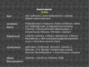 Анализ текста На балу бал бал чудесный, зала прекрасная с хорами, буфет велик
