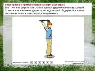 Упор присев с прямой спиной (Straight back squat) И.п. – ноги на ширине плеч,