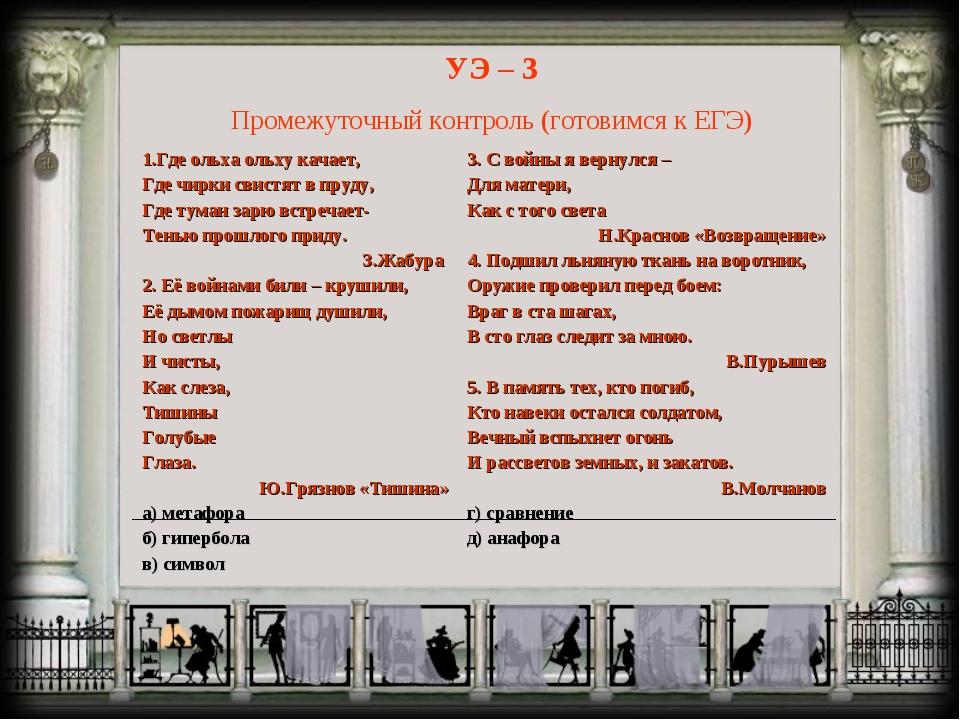 УЭ – 3 Промежуточный контроль (готовимся к ЕГЭ)
