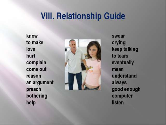 VIII. Relationship Guide swear crying keep talking to tears eventually mean u...